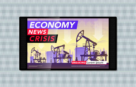 TV on the wall and the latest economic news, oil production and oil prices in the world. Schedule for lower oil prices. Vector illustration