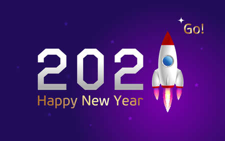 Happy New Year 2021 banner, number 1 in the form of a rocket flying upwards against the background of the starry sky. space conquest concept. Vector, illustration