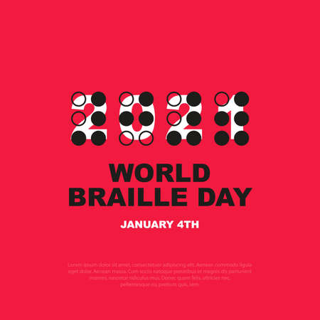 Square banner world braille day, january 4 th. The symbol of the year 2021 is written in a font for visually impaired people. Vector, illustration