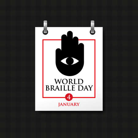 calendar sheet with the inscription, world braille day, january 4 th. Hand with an eye as a symbol of visually impaired people. Vector, illustration