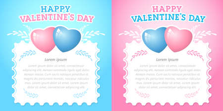 Set of beautiful cards or invitation for the holiday Valentine's Day. Blue and pink template with space for text, copy space. Vector, illustration