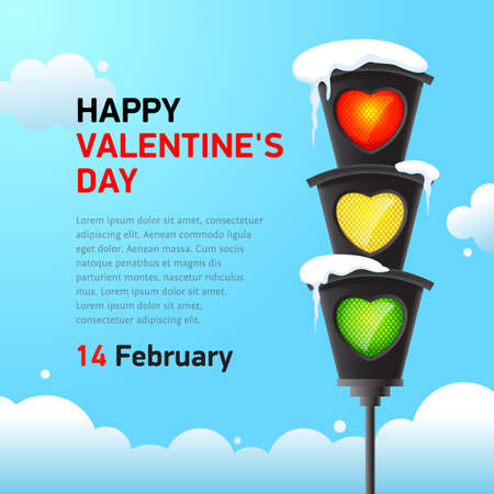 traffic light in ice icicles and heart-shaped light bulbs against the blue sky. Happy valentine day banner concept. Vector, illustration