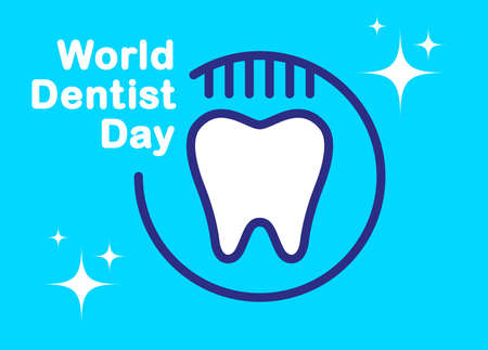 Banner World Dentist Day. White tooth symbol with a toothbrush on a blue background. Vector, illustration