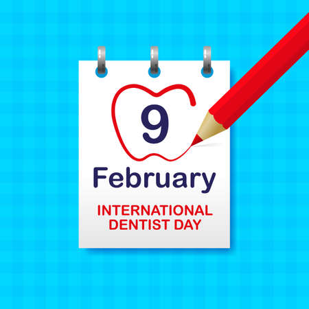 Red pencil traces the date February 9, International Dentist Day. Calendar sheet on a blue wall. Vector, illustration