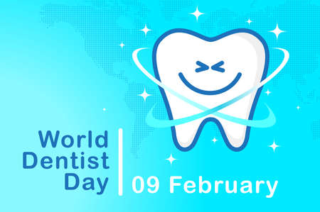 Banner World Dentist Day. Tooth symbol with a cute smile on the background of the card on a blue background. Vector, illustration 矢量图像
