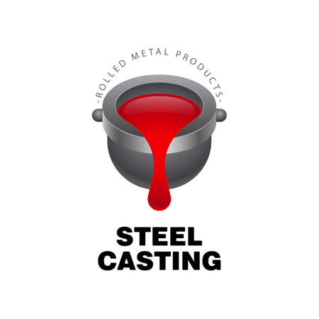 Metal casting logo on a white background. Cast iron ladle and outflowing molten metal. Metal mining concept. Vector, illustration