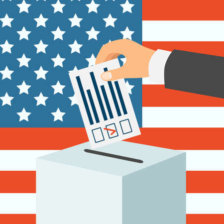 USA election concept. Male hand putting voting paper in a ballot box, flat design, vector illustration Illustration