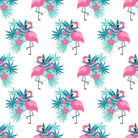 白で隔離ピンクのフラミンゴのシームレス パターン