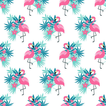 Seamless pattern with a pink flamingo isolated on white