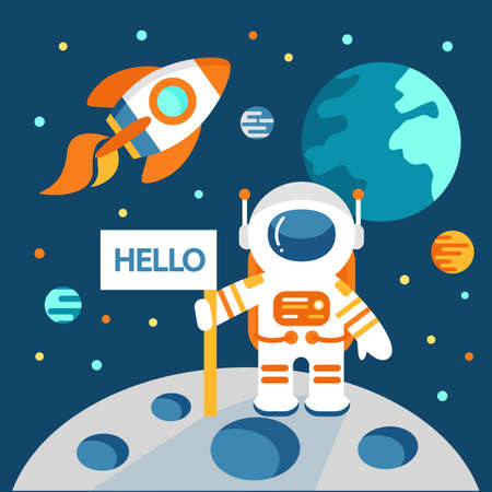 outerspace: Astronaut on the moon in flat style, vector illustration, outer space