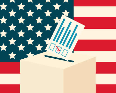 election: USA election concept. Voting paper and a ballot box with american flag on a background, flat design, illustration