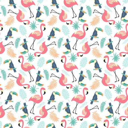 Tropical Seamless pattern with flamingos, toucans and palm leaves, trendy illustration Vettoriali