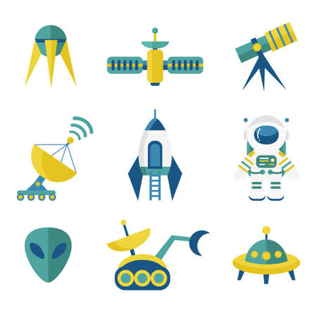 astronomy: Astronomy Icons Set in Flat Style Illustration