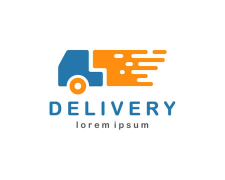 courier: Delivery template with truck symbol, courier service