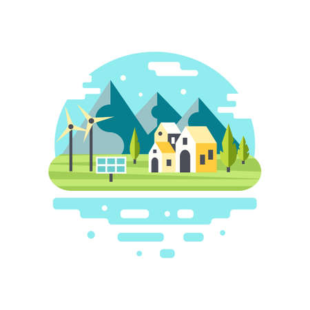 solar home: Eco city modern design. Alternative energy concept. Countryside scenery with mountains, lake and country houses. Eco tourism