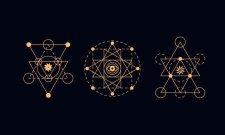 神聖な幾何学シンボルを設定します。錬金術の図
