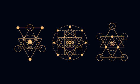 Sacred geometry symbols set. Alchemy illustration