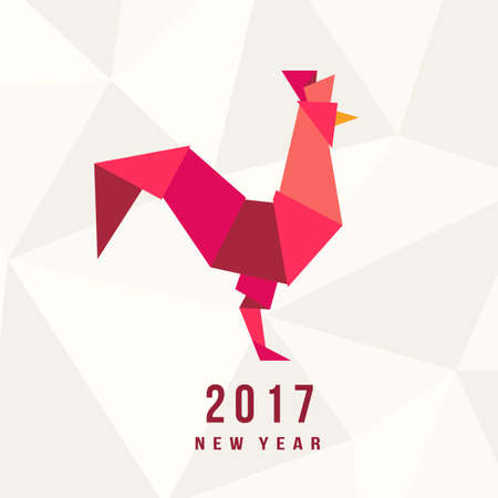 Chinese New Year of the Rooster 2017. Celebration greeting card, placard,  poster, template. Elegant festival Illustration of red cock in origami  geometric trendy style Vettoriali
