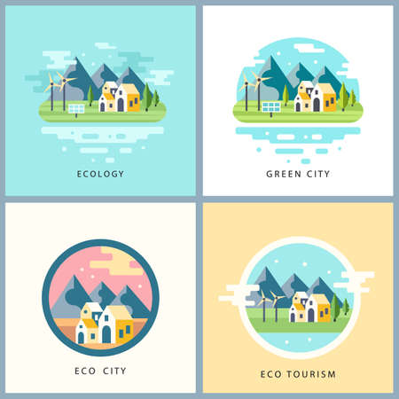 ecotourism: Eco city set. Alternative energy concept. Countryside scenery with mountains, lake and houses, solar panels and windmills. Ecotourism. Background for websites, games in modern flat style