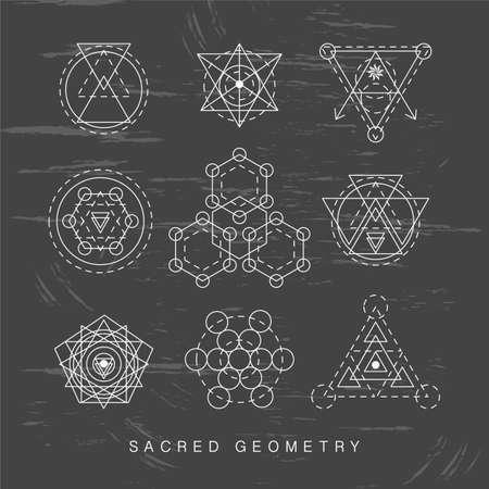 神聖な幾何学の記号を設定します。線形の現代美術。錬金術のヒップスターのシンボル