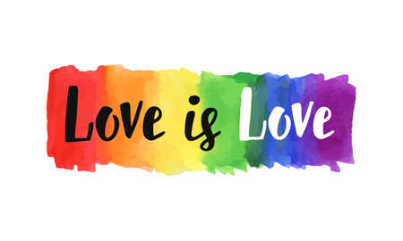 Love is love hand lettering written on a watercolor rainbow spectrum pride flag, isolated on white. LGBT rights concept. Modern poster, cards design