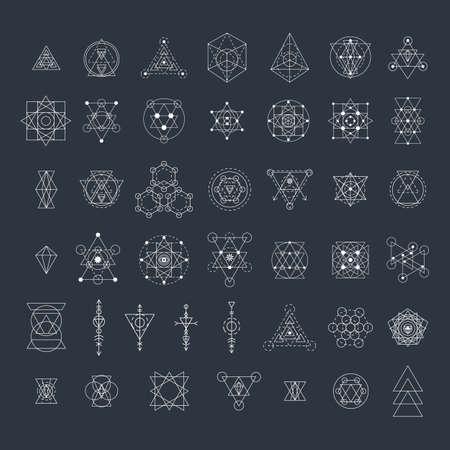 Heilige Geometrie Zeichen Sammlung. Lineare moderne Kunst-Design-Elemente gesetzt. Vektor-Illustration