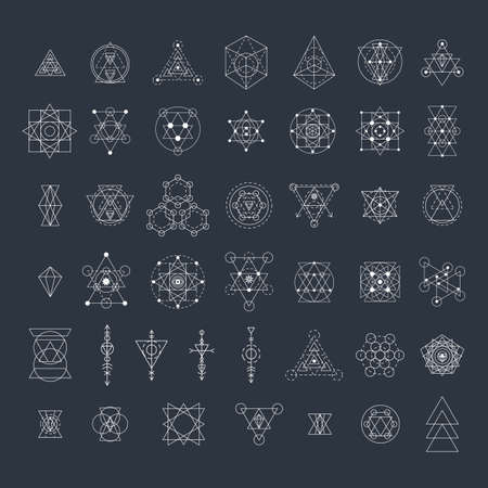 Sacred geometry signs collection. Linear modern art design elements set. Vector illustration