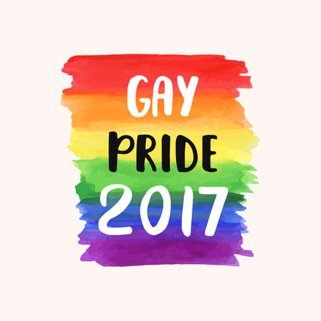 Gay pride 2017. Homosexuality emblem on a watercolor rainbow spectrum flag. LGBT rights concept. Modern parades poster, placard, invitation card design Vettoriali
