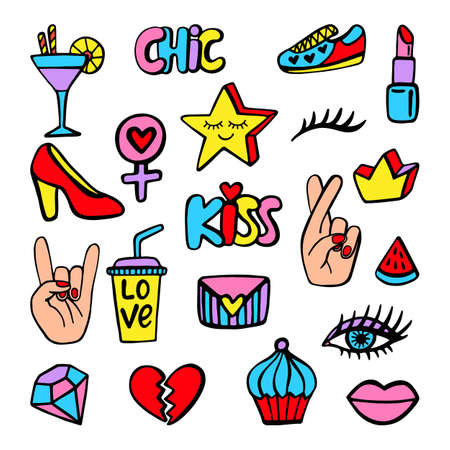 fingers crossed: Vector fashion patch badges set with shoe, heart, star, crown, crossed fingers, eye, lipstick, cocktail, isolated on white. Comic stickers, pins, patches doodle in cartoon pop art 80s-90s style