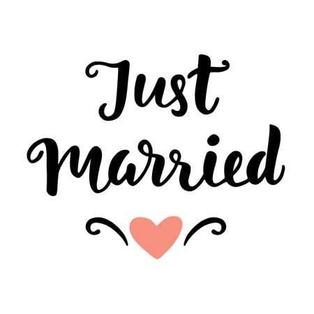 Net getrouwd. de hand van het huwelijk geschreven letters. Modern Kalligrafie. Typografie Design. vector Illustration