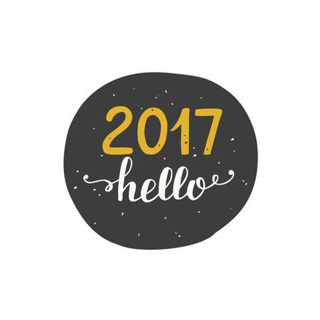 hello 2017 label sticker isolated on white new year card in black and gold