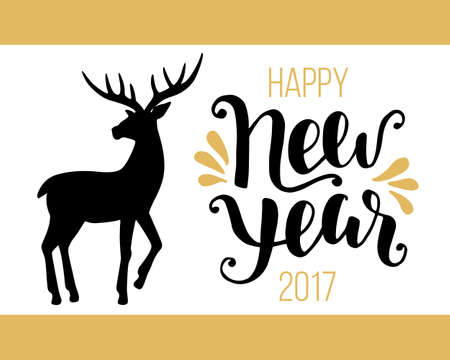 holiday invitation: Happy New Year 2017 card with hand drawn vintage deer. Holiday party banner, invitation. Vector Illustration