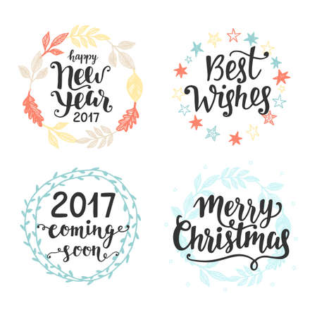 best wishes: Winter holidays hand lettering set, isolated on white. Merry Christmas, Happy New Year, 2017 coming soon, Best Wishes. Typography design elements for greeting cards, invitations. Vector illustration
