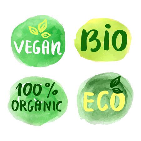 home grown: Bio natural food concept. Set of vector labels Illustration