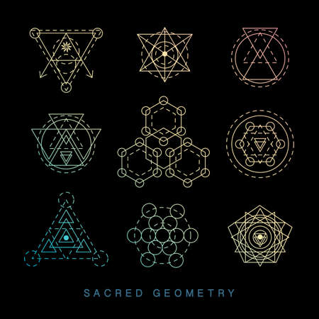 Sacred geometry signs set. Linear Modern Art