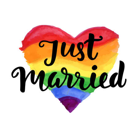 Just Married phrase on bright watercolor rainbow heart