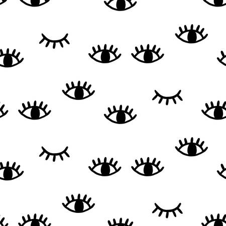 Seamless pattern with open and winking eyes Çizim