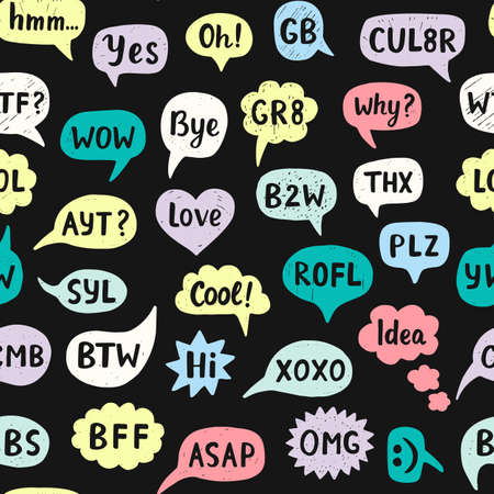 acronyms: Seamless Pattern with Hand Drawn Internet Acronyms