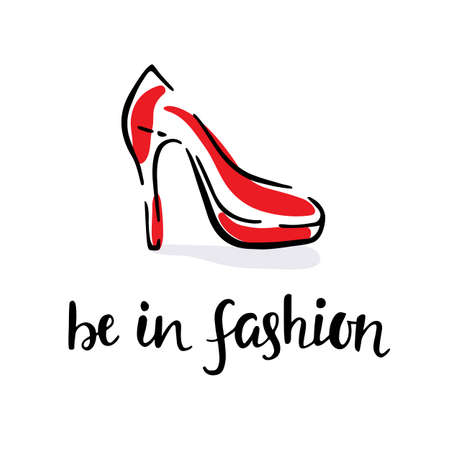 be: Be In Fashion. Hand Drawn Vector Red Women Shoe