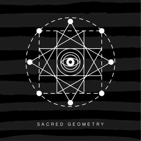 Sacred geometry sign on black grunge background Illustration