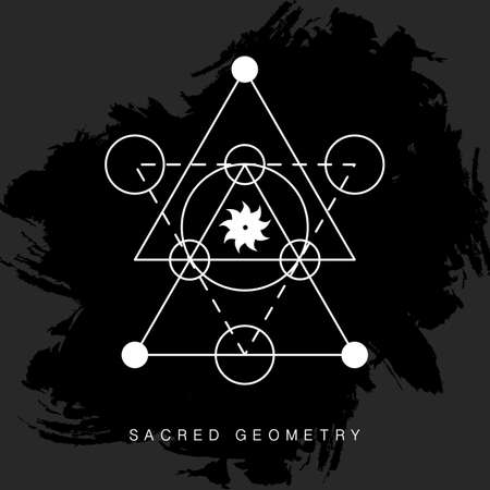 Sacred geometry sign on black grunge background Illustration