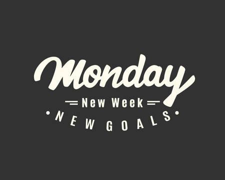 月曜日。新しい週、新しい目標。  イラスト・ベクター素材