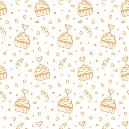 手でシームレスなパターンは、甘いカップケーキを描かれています。誕生日パーティー、結婚式、バレンタインの日ロマンチックな背景、白で隔離  イラスト・ベクター素材