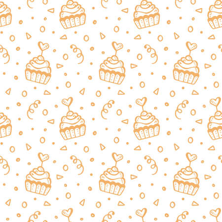 Seamless pattern with hand drawn sweet cupcakes. Birthday party, wedding, valentines day romantic background, isolated on white. Vector illustration. Vintage retro style
