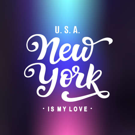 New York City Typography with handwritten modern calligraphy. Urban poster, banner. Hand crafted lettering emblem on trendy futuristic neon background. Vector illustration.