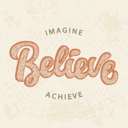 Stel je voor, geloof, bereik Stock Illustratie