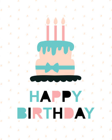 Happy Birthday Greeting Card Template Vector Illustration Of