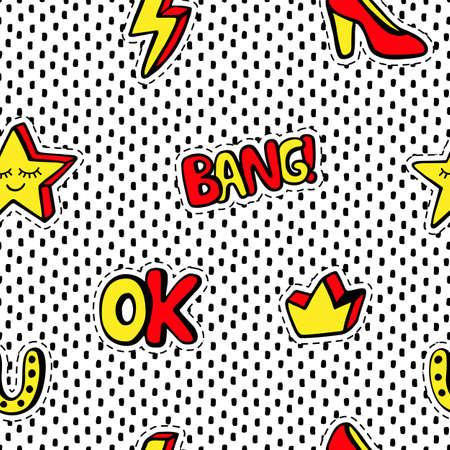 세련 된 패치 배지와 원활한 패턴 설정된, 크라운, 스타, 흰색 배경에 고립. 만화 스티커 80s-90s 스타일 만화 스티커, 핀, 패치 낙서. 벡터 일러스트 레이  스톡 콘텐츠