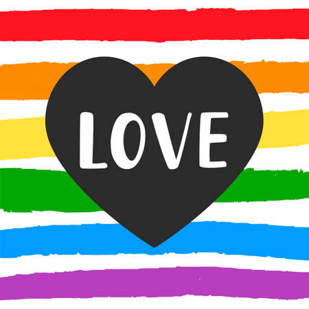 Love Gay pride emblem with hand written lettering on a rainbow spectrum flag and heart shape. Poster, placard, t shirt print vector design