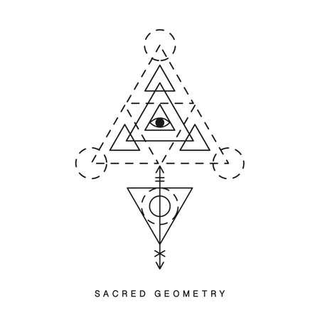 Sacred geometry sign, tattoo Illustration